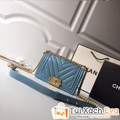 Túi Xách Chanel Boy Vân V Siêu Cấp Da Lì Khóa Vàng Khè Màu Xanh Dương