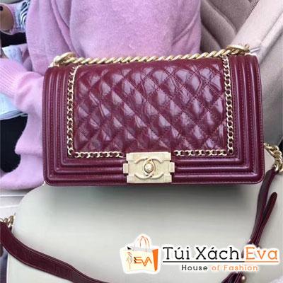 Túi Xách Chanel Boy Viền Xích Siêu Cấp Màu Đỏ Đẹp