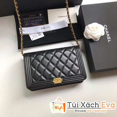 Túi Xách Chanel Boy Wallet On Chain Siêu Cấp Màu Đen Khóa Vàng A80287