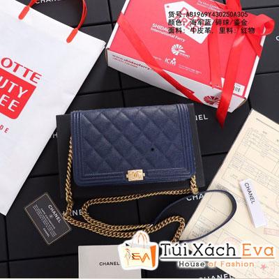 Túi Xách Chanel Boy Wallet On Chain Siêu Cấp Màu Xanh Dương Khóa Vàng A80287