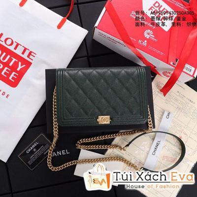 Túi Xách Chanel Boy Wallet On Chain Siêu Cấp Màu Xanh Lá Khóa Vàng A80287