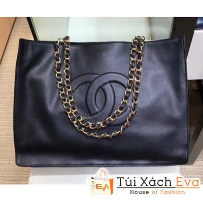 Túi Xách Chanel Cc Logo Shopping Tote Bag Siêu Cấp Màu Đen a78009