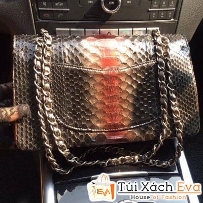 Túi xách Chanel classic Da Rắn Siêu Cấp Quai Bạc