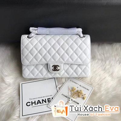 Túi Xách Chanel Classic Flap Bag Siêu Cấp Da Hạt Khóa Bạc Màu Trắng