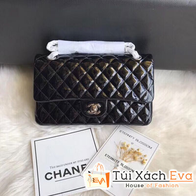 Túi Xách Chanel Classic Flap Bag Siêu Cấp Màu Đen Da Bóng 1112