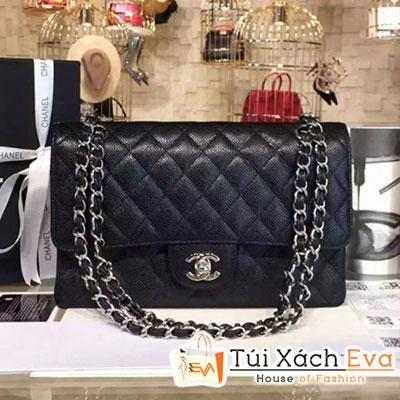 Túi Xách Chanel Classic Flap Bag Siêu Cấp  Màu Đen Da Hạt Khóa Bạc A01112