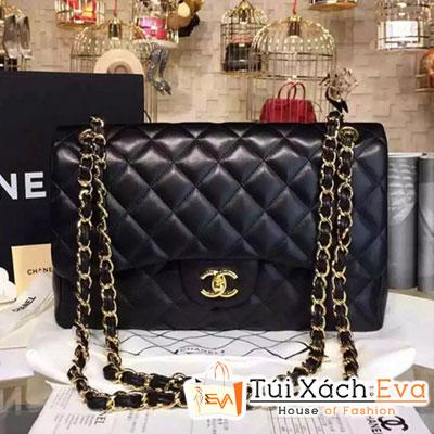 Túi Xách Chanel Classic Flap Bag Siêu Cấp  Màu Đen Da Lì Khóa Vàng A01112