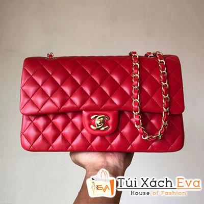 Túi Xách Chanel Classic Flap Bag Siêu Cấp  Màu Đỏ Da Lì Khóa Vàng A01112