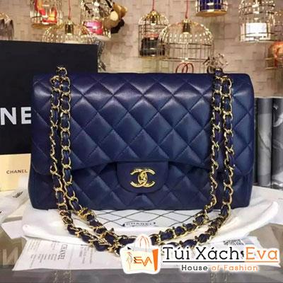Túi Xách Chanel Classic Flap Bag Siêu Cấp  Màu Xanh Dương Đậm Da Lì Khóa Vàng A01112
