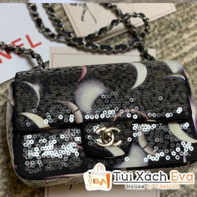 Túi Xách Chanel Classic Handbag Siêu Cấp Màu Đen Đính Hạt