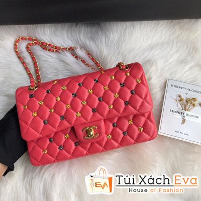 Túi Xách Chanel Classic Handbag Siêu Cấp Màu Đỏ Đính Phụ Kiện CF 1116