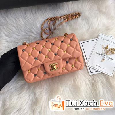 Túi Xách Chanel Classic Handbag Siêu Cấp Màu Hồng Đính Phụ Kiện CF 1116