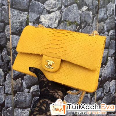 Túi Xách Chanel Classic Rắn Siêu Cấp Màu Vàng Quai Đeo Vàng