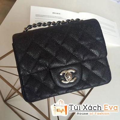 Túi Xách Chanel Classic Siêu Cấp Da Hạt Khóa Bạc Sz 18 Màu Đen