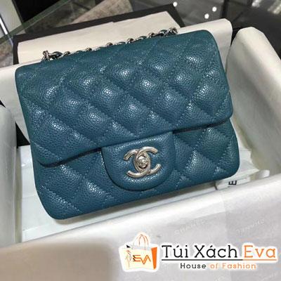 Túi Xách Chanel Classic Siêu Cấp Da Hạt Khóa Bạc Sz 18 Màu Xanh Dương Đậm