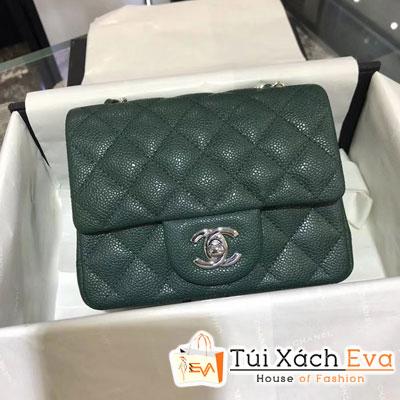 Túi Xách Chanel Classic Siêu Cấp Da Hạt Khóa Bạc Sz 18 Màu Xanh Rêu