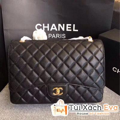 Túi Xách Chanel Classic Siêu Cấp Da Hạt Khóa Vàng Màu Đen