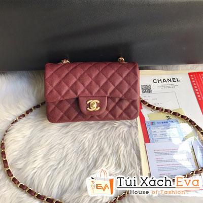 Túi Xách Chanel Classic Siêu Cấp Da Hạt Khóa Vàng Màu Đỏ Đô