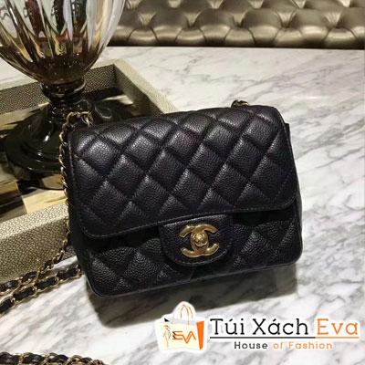 Túi Xách Chanel Classic Siêu Cấp Da Hạt Khóa Vàng  Sz 18 Màu Đen