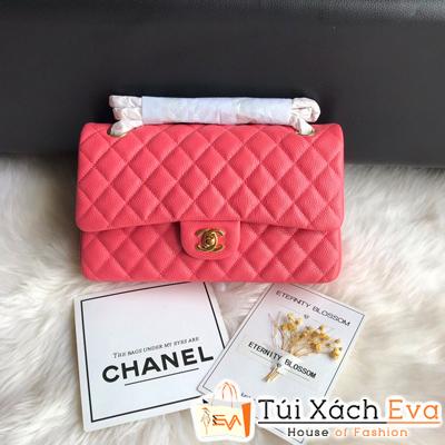 Túi Xách Chanel Classic Siêu Cấp Da Hạt Màu Hồng