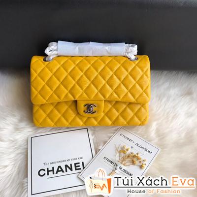 Túi Xách Chanel Classic Siêu Cấp Da Hạt Màu Vàng