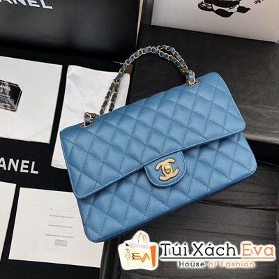Túi Xách Chanel Classic Siêu Cấp Da Hạt Màu Xanh Dương Khóa Vàng