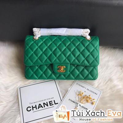 Túi Xách Chanel Classic Siêu Cấp Da Hạt Màu Xanh Lá
