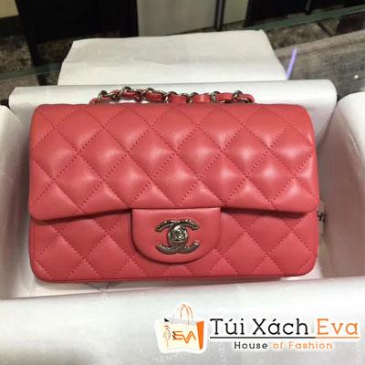Túi Xách Chanel Classic Siêu Cấp Da Lì Khóa Bạc  Màu Hồng