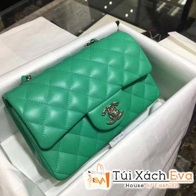 Túi Xách Chanel Classic Siêu Cấp Da Lì Khóa Bạc  Màu Xanh Lá