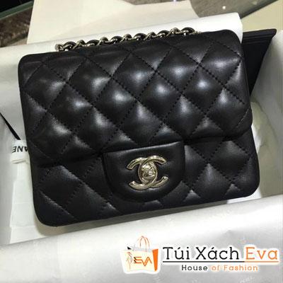 Túi Xách Chanel Classic Siêu Cấp Da Lì Khóa Bạc Sz 18  Màu Đen