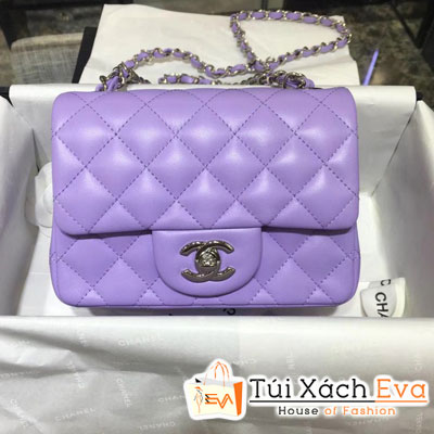 Túi Xách Chanel Classic Siêu Cấp Da Lì Khóa Bạc Sz 18  Màu Tím