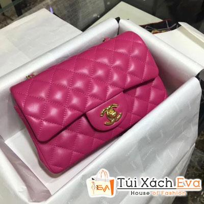Túi Xách Chanel Classic Siêu Cấp Da Lì Khóa Vàng Màu Hồng Đậm