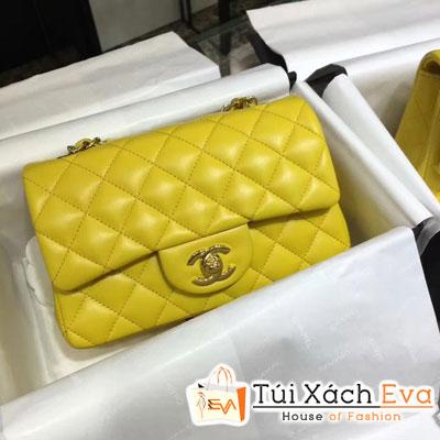 Túi Xách Chanel Classic Siêu Cấp Da Lì Khóa Vàng Màu Vàng