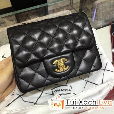 Túi Xách Chanel Classic Siêu Cấp Da Lì Khóa Vàng Sz 18 Màu Đen