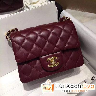 Túi Xách Chanel Classic Siêu Cấp Da Lì Khóa Vàng Sz 18 Màu  Đỏ Đô