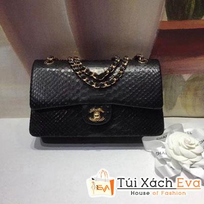 Túi Xách Chanel Classic Siêu Cấp Da Rắn Màu Đen