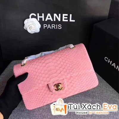 Túi Xách Chanel Classic Siêu Cấp Da Rắn Màu Hồng