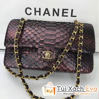 Túi Xách Chanel Classic Siêu Cấp Da Rắn Màu Tím Khóa Vàng