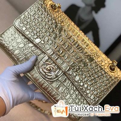 Túi Xách Chanel Classic Siêu Cấp Da Rắn Màu Vàng
