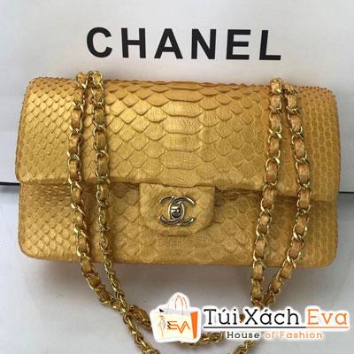 Túi Xách Chanel Classic Siêu Cấp Da Rắn Màu Vàng Khóa Bạc