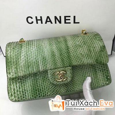 Túi Xách Chanel Classic Siêu Cấp Da Rắn Màu Vàng Xanh Khóa Vàng