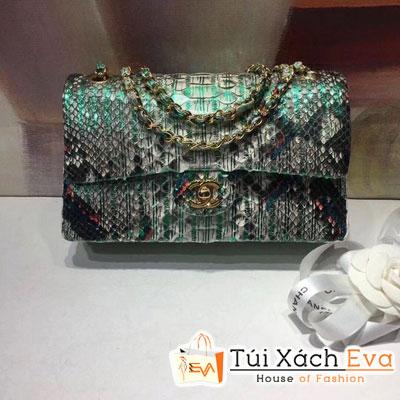 Túi Xách Chanel Classic Siêu Cấp Da Rắn Màu Xanh Ngọc
