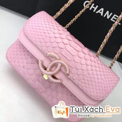 Túi Xách Chanel Classic Siêu Cấp Da Rắn Nắp Gập Logo Màu Hồng