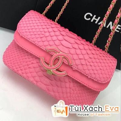 Túi Xách Chanel Classic Siêu Cấp Da Rắn Nắp Gập Logo Màu Hồng Đậm