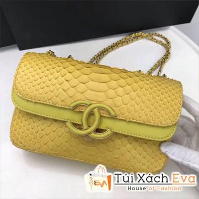 Túi Xách Chanel Classic Siêu Cấp Da Rắn Nắp Gập Logo Màu Vàng