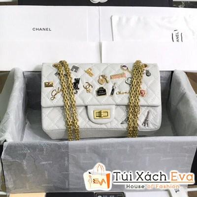 Túi Xách Chanel Classic Siêu Cấp Đính Phụ KIện Màu Trắng