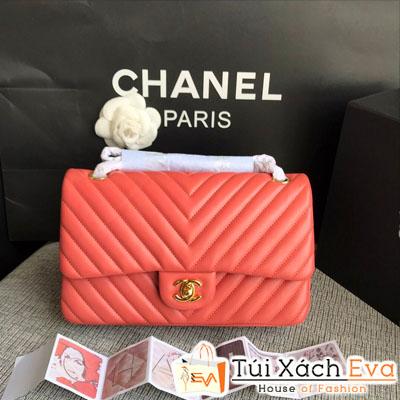 Túi Xách Chanel Classic Siêu Cấp Màu Đỏ Cam  Khóa Vàng Da Lì