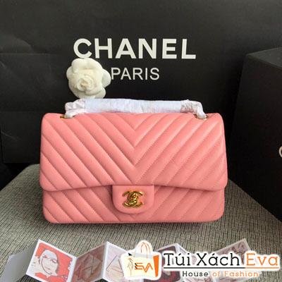 Túi Xách Chanel Classic Siêu Cấp Màu Hồng  Khóa Vàng Da Lì