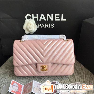 Túi Xách Chanel Classic Siêu Cấp Màu Hồng Nhũ Khóa Vàng  Da Lì