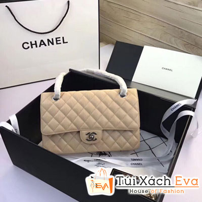 Túi Xách Chanel Classic Siêu Cấp Màu Kem Khóa Bạc